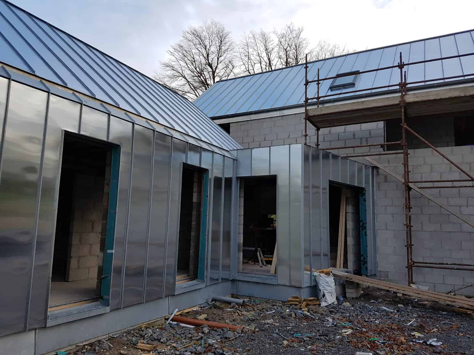 3 - house Cork City - matching wall and roof natural zinc