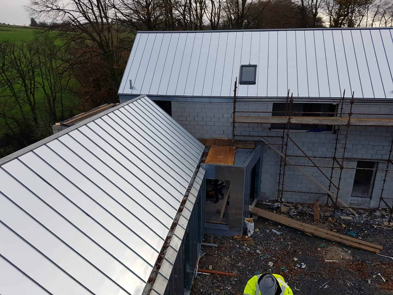 3 - house Cork City - pitched zinc roof with internal gutter